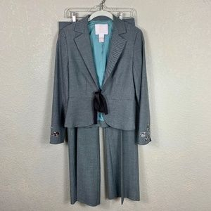 Rebecca Taylor Ribbon Embroidery Career Pant Suit